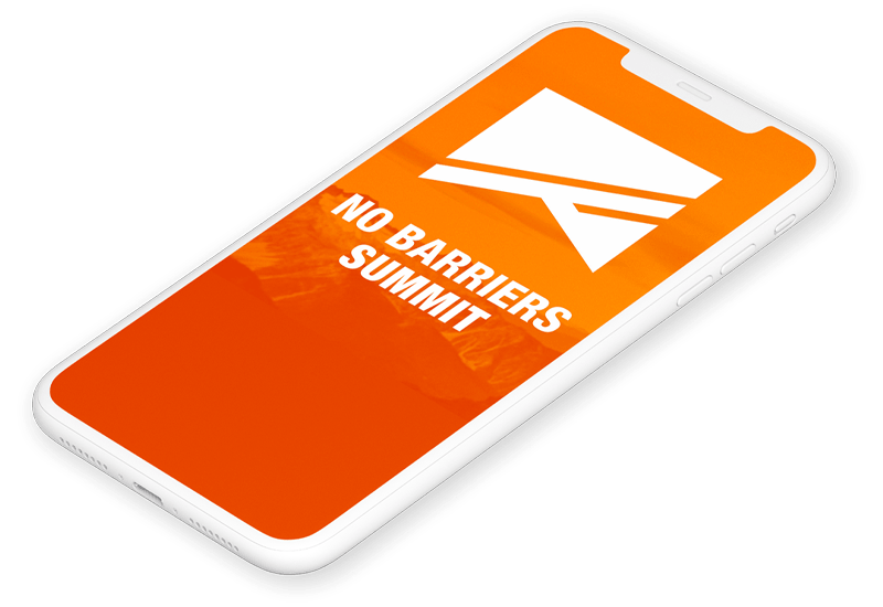 iPhone mockup of the No Barriers Summit Virtual Experience